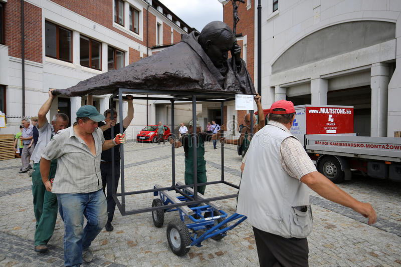 The installation of the bust - In homage to John Paul II by Anna Gulak in the Centre of Pope John Paul II in Lagiewniki. Before WYD 2016.Cracow Poland stock image
