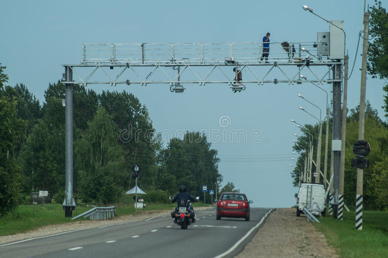 The installation of cameras of video fixing of violations on the highway in the Kaluga region of Russia. For the past few years in Russia there was a lot of royalty free stock image