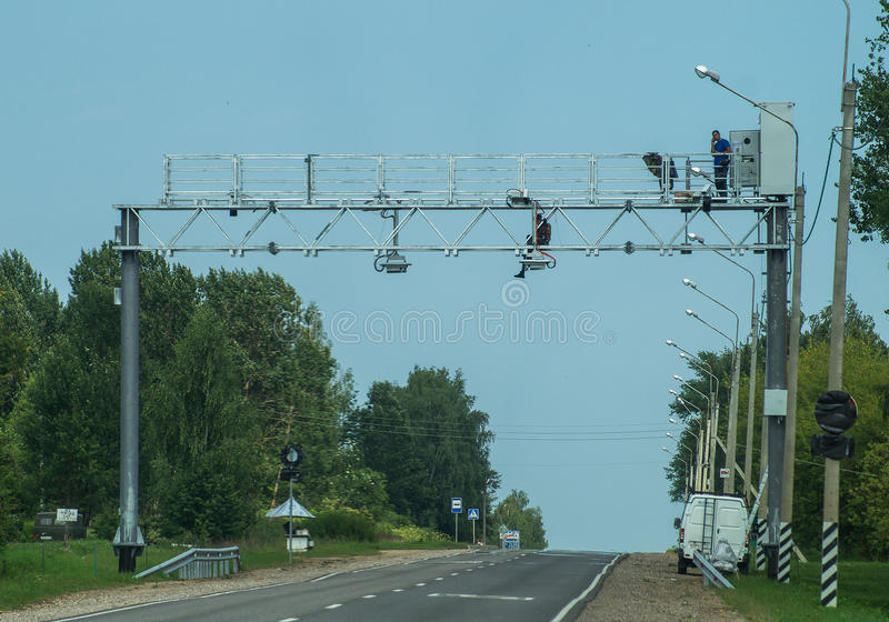 The installation of cameras of video fixing of violations on the highway in the Kaluga region of Russia. For the past few years in Russia there was a lot of stock photos