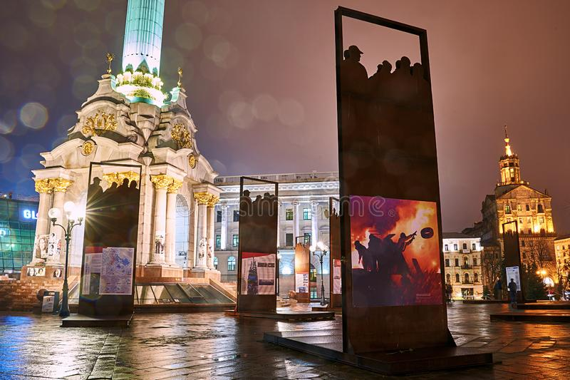 Installation commemorating the Heavenly Hundred and Revolution of Dignity on Maidan Nezalezhnosti in Kyiv, Ukraine stock photos