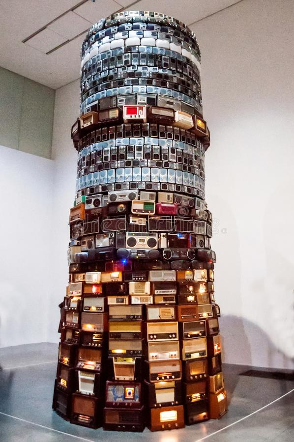 Installation created by old radios. It demonstrates the development and miniaturization of the technique stock photography