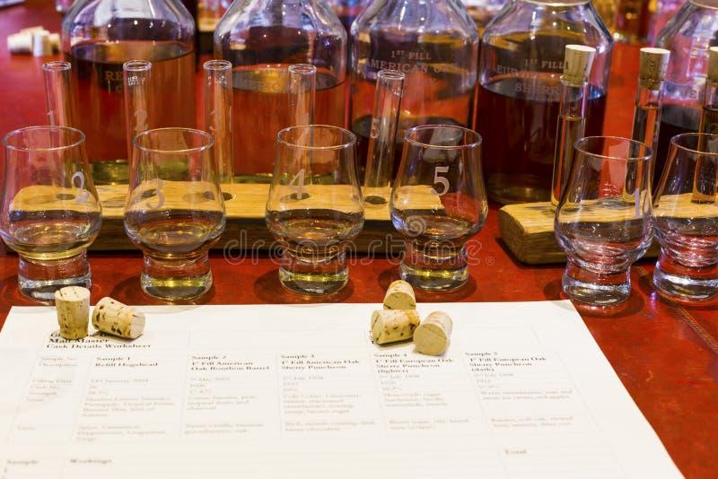Installation d'échantillon de whiskey avec les verres de échantillonnage numérotés, becher et image stock