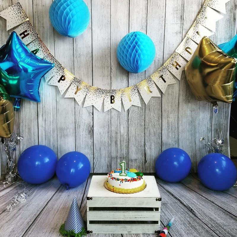 Installation d'anniversaire images stock
