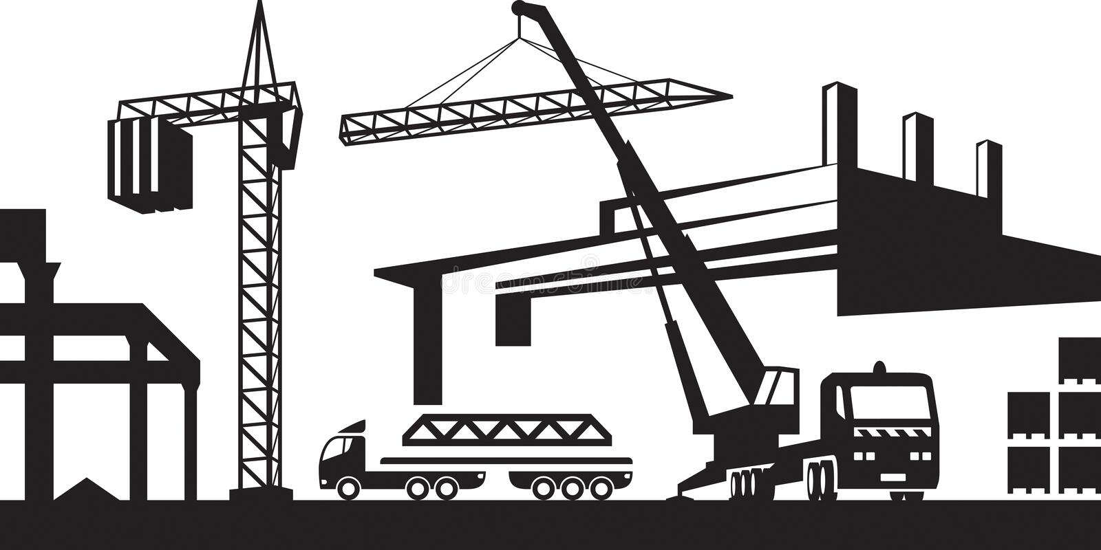 Installation de la grue sur le chantier de construction illustration de vecteur