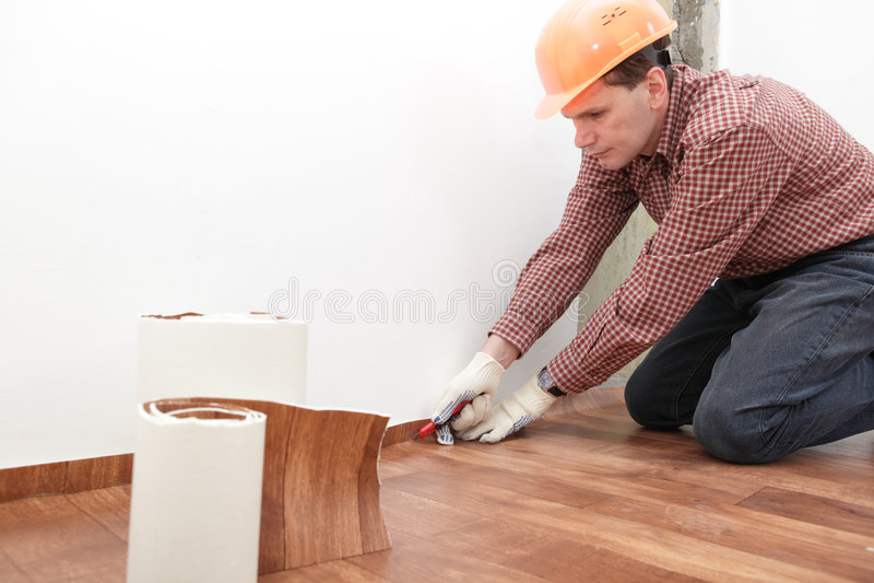 Installation de plancher images stock