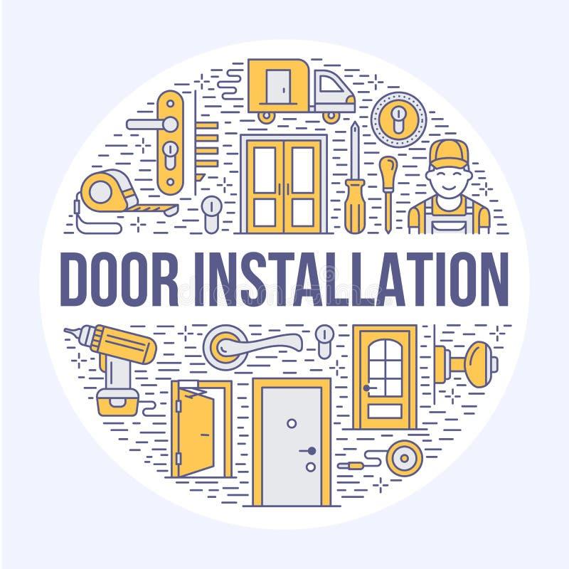 Installation de portes, illustration de bannière de réparation illustration stock
