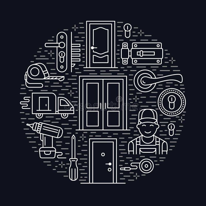 Installation de portes, illustration de bannière de réparation Dirigez la ligne icônes de divers types de porte, poignée, verrou, illustration libre de droits