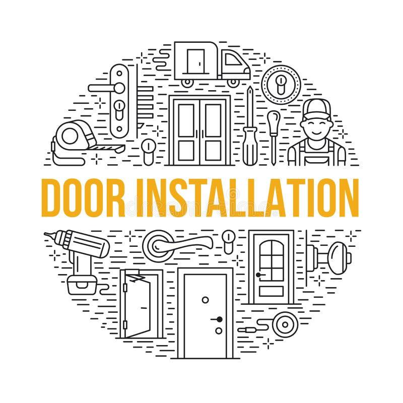 Installation de portes, illustration de bannière de réparation Dirigez la ligne icônes de divers types de porte, poignée, verrou, illustration de vecteur