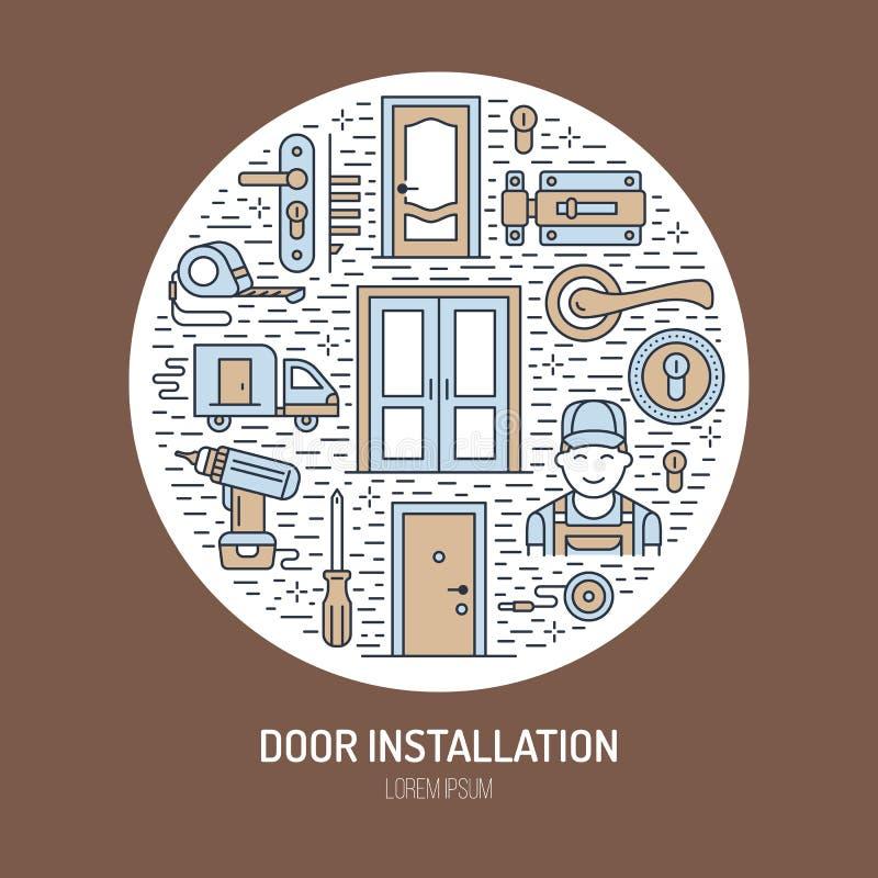 Installation de portes, illustration de bannière de réparation Dirigez la ligne icônes de divers types de porte, poignée, verrou, illustration stock
