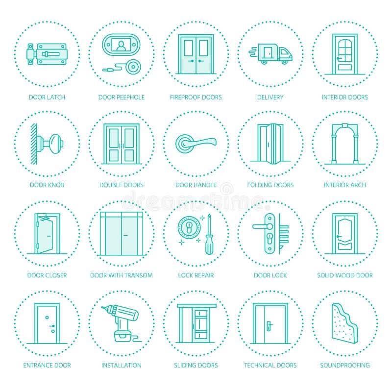 Installation de portes, ligne icônes de réparation illustration de vecteur