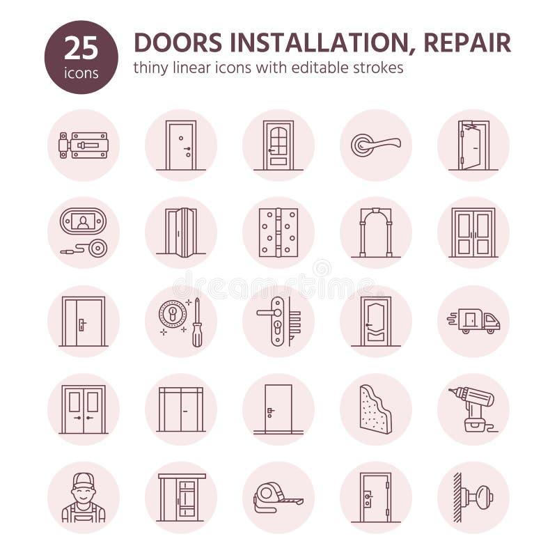 Installation de portes, ligne icônes de réparation Divers types de porte, poignée, verrou, serrure, charnières La conception inté illustration stock