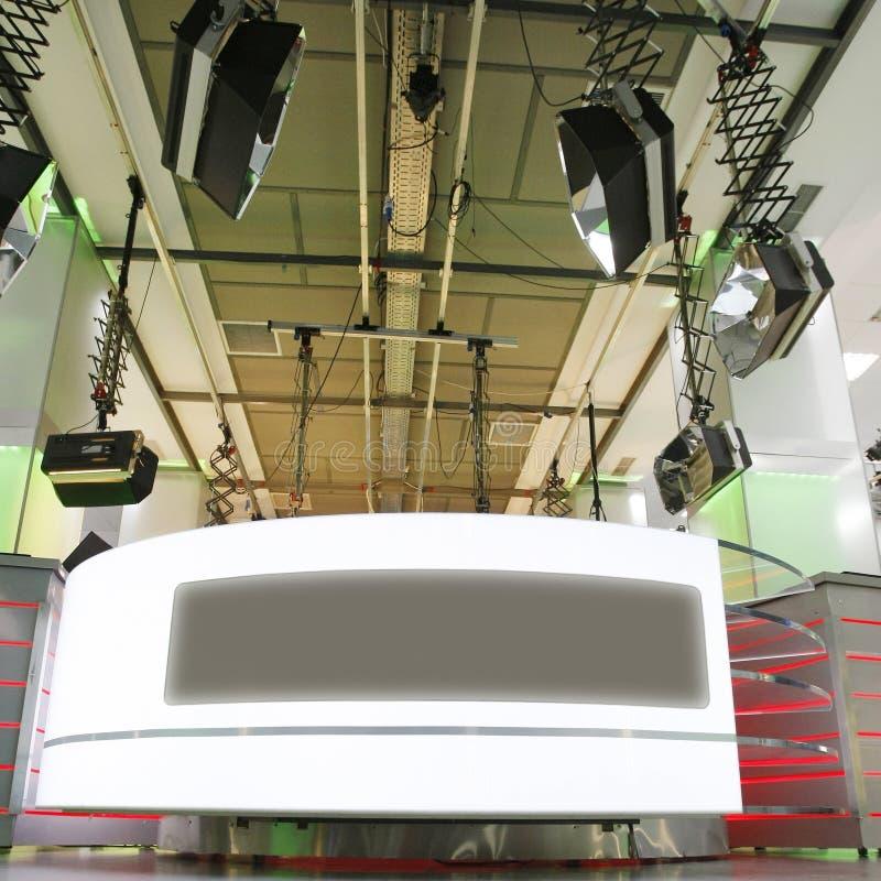 Installation de studio de nouvelles de TV images stock