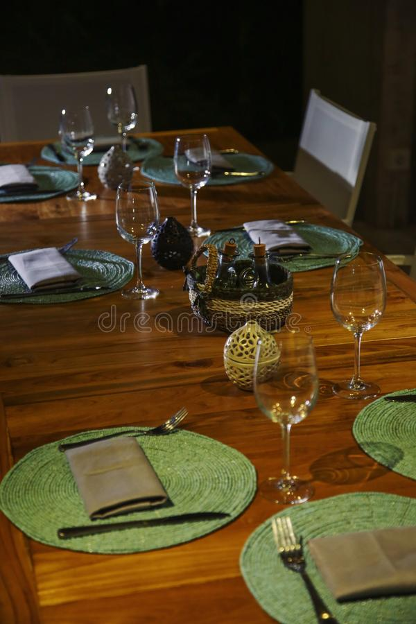 Installation de table de dîner image stock