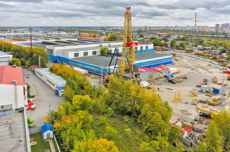 Installation of derrick. Tyumen. Russia stock photo