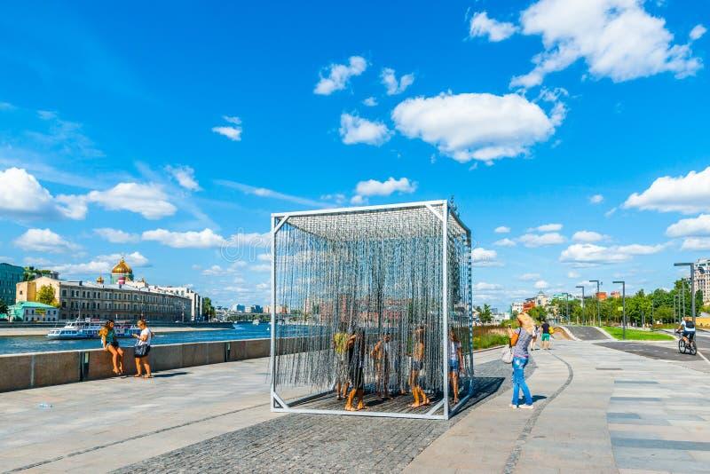 Installation des eisernen Vorhangs in Museon-Park von Künsten von Moskau stockfotos