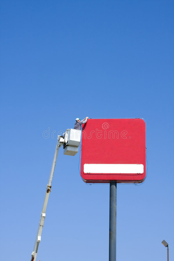 Installation du signe neuf d'affaires images libres de droits