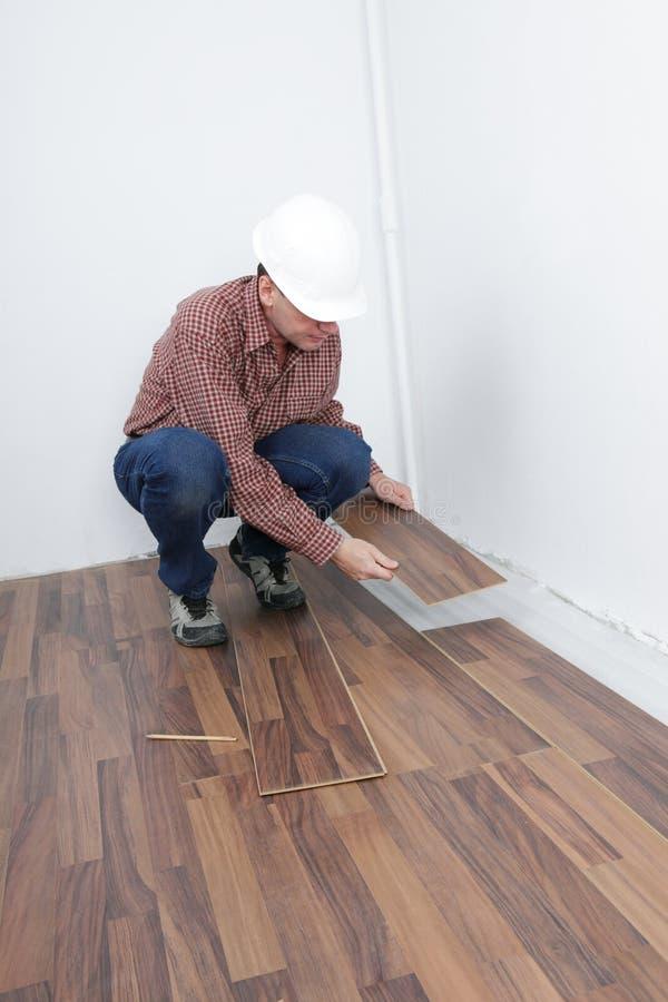 Installation en stratifié de plancher image libre de droits