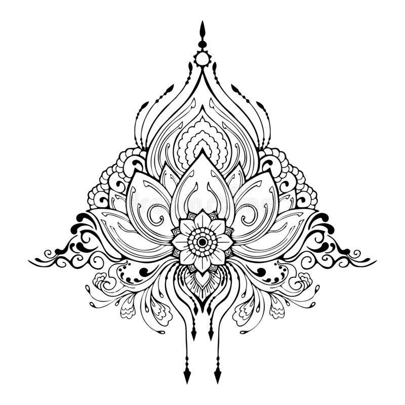 Installation för Mehndi lotusblommablomma för garnering för beståndsdel för hennateckningstatuering i etnisk orientalisk ind stock illustrationer
