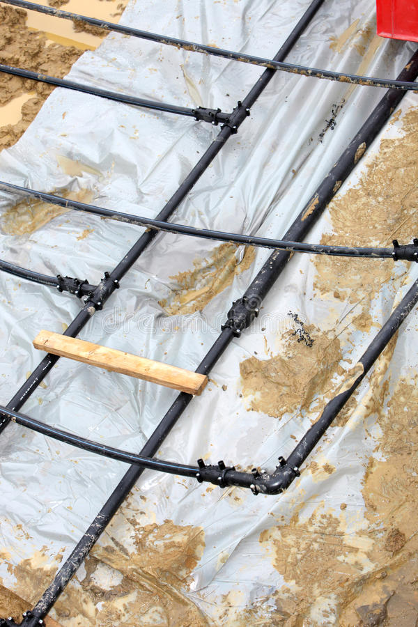 Download Installation Of Geothermal Heat Pipes Stock Image - Image: 21926901