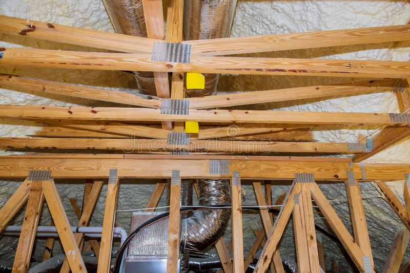 Installation of heating system on the roof of the pipe system of heating closeup. Heating system installation of system on the roof of the pipe system of heating royalty free stock image