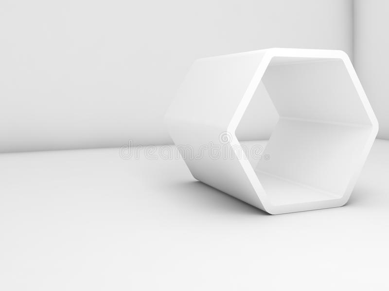 Installation hexagonale blanche dans la chambre vide, 3d illustration de vecteur