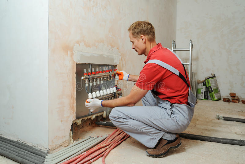 Installation of home heating. stock photos