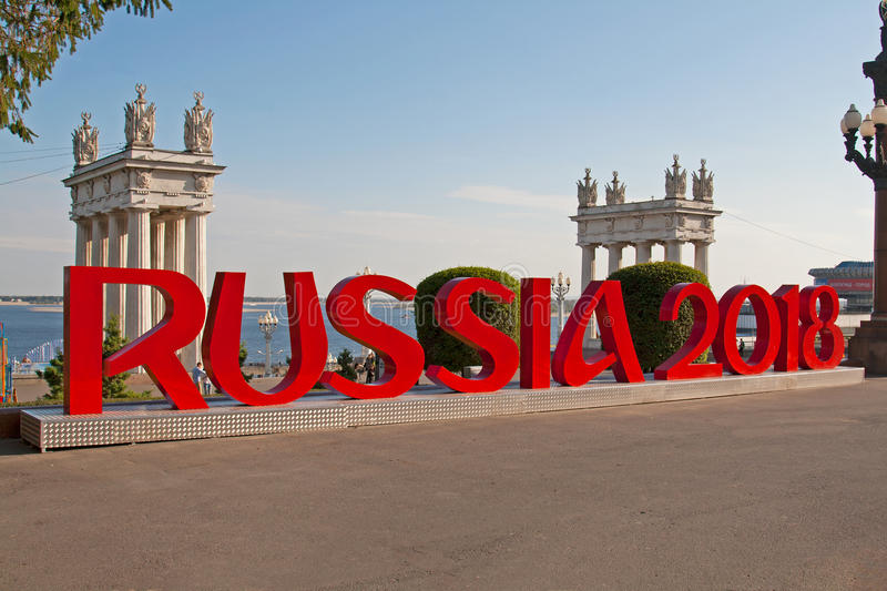 Installation of the inscription `Russia 2018` mounted on the Central promenade of Volgograd which will host FIFA World Cup in Rus royalty free stock photo