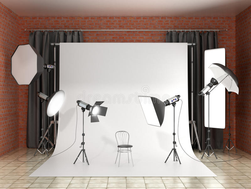 Installation of lighting in the photo studio. vector illustration