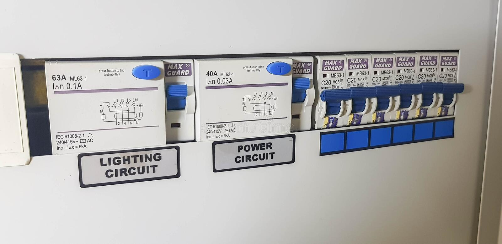 Installation of MCB on an office wall. MCB or Miniatur Circuit Breaker. MCB as a safety from electrical short circuit or overload royalty free stock photo