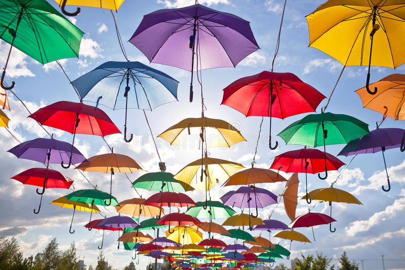 Installation from multicolored umbrellas in the park of the city of Astana, Kazakhstan stock photo