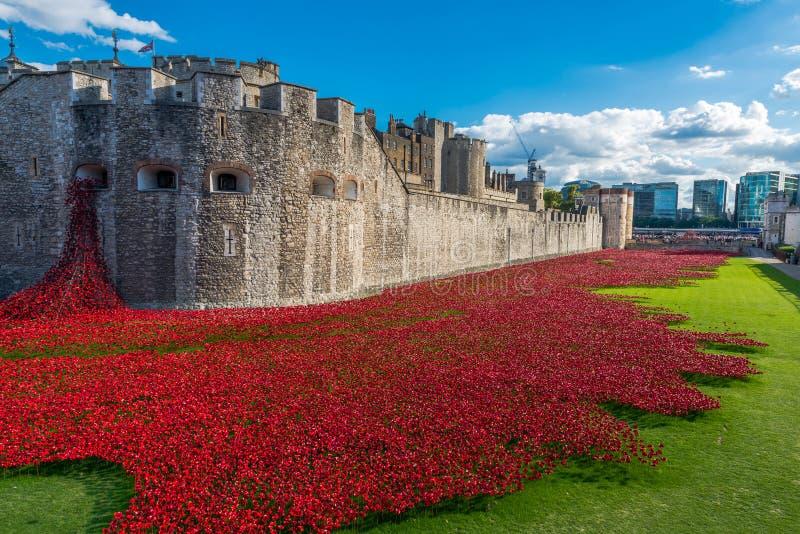 Installation rouge d'art de pavots à la tour de Londres, R-U image stock