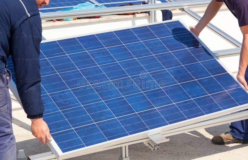 Installation of solar panel.  stock photography