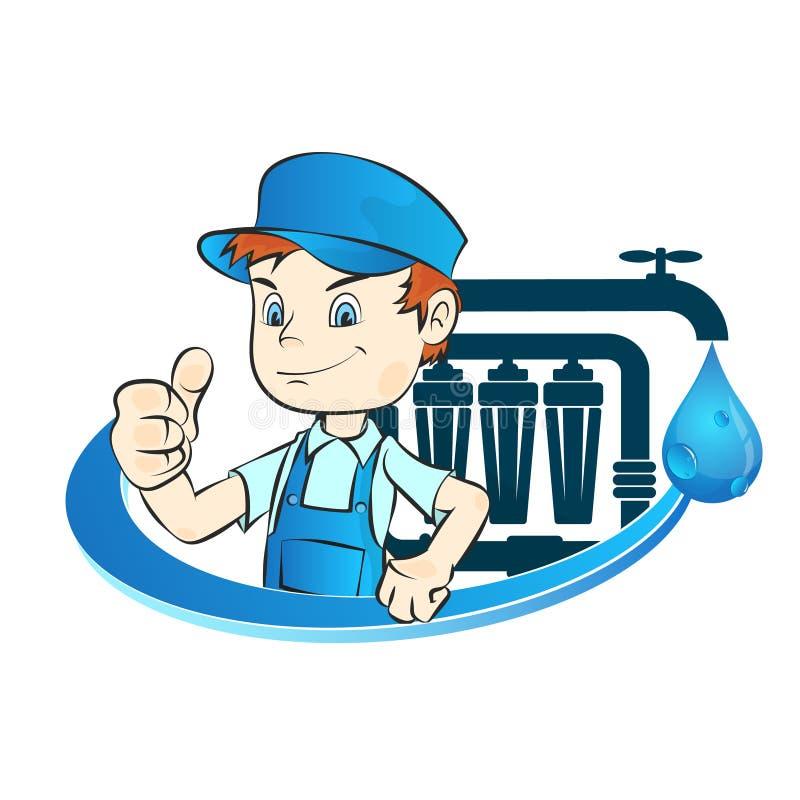 Installation von Wasserfiltern stock abbildung