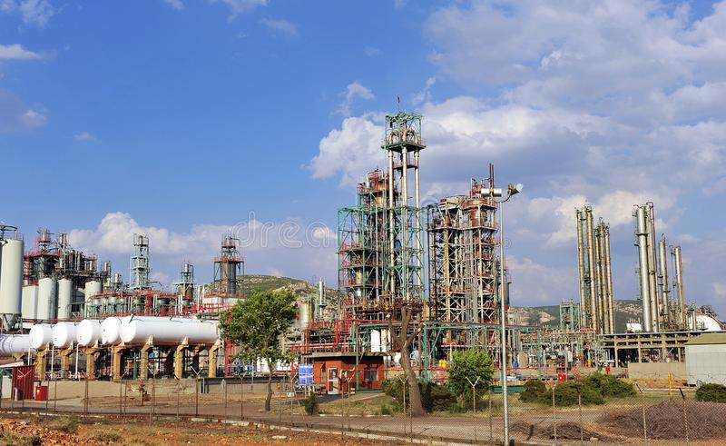 Oil refinery in Puertollano, Ciudad Real province, Spain. Installations of chemical industry for production of petroleum products located in Puertollano royalty free stock image