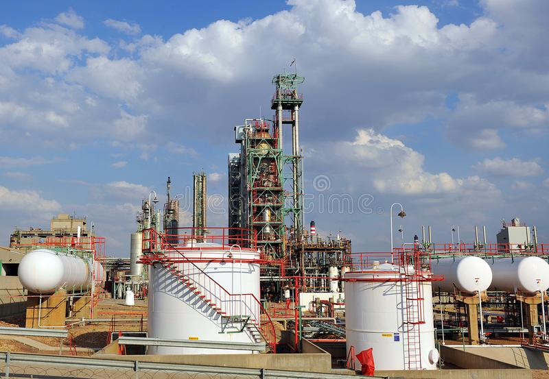 Storage tanks, Oil refinery in Puertollano, Ciudad Real province, Spain. Installations of chemical industry for production of petroleum products located in stock photo
