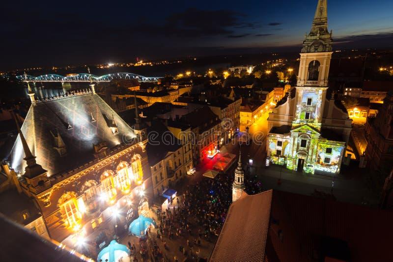 Installations de Bella Skyway Festival à Torun. photographie stock