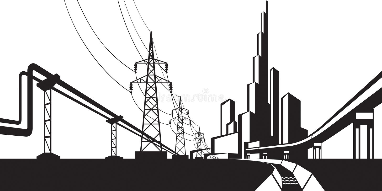 Installations for supply of energy sources. Vector illustration royalty free illustration