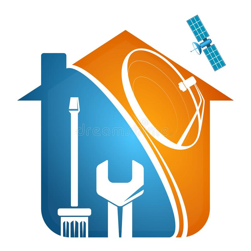 Installationshus för satellit- maträtt royaltyfri illustrationer