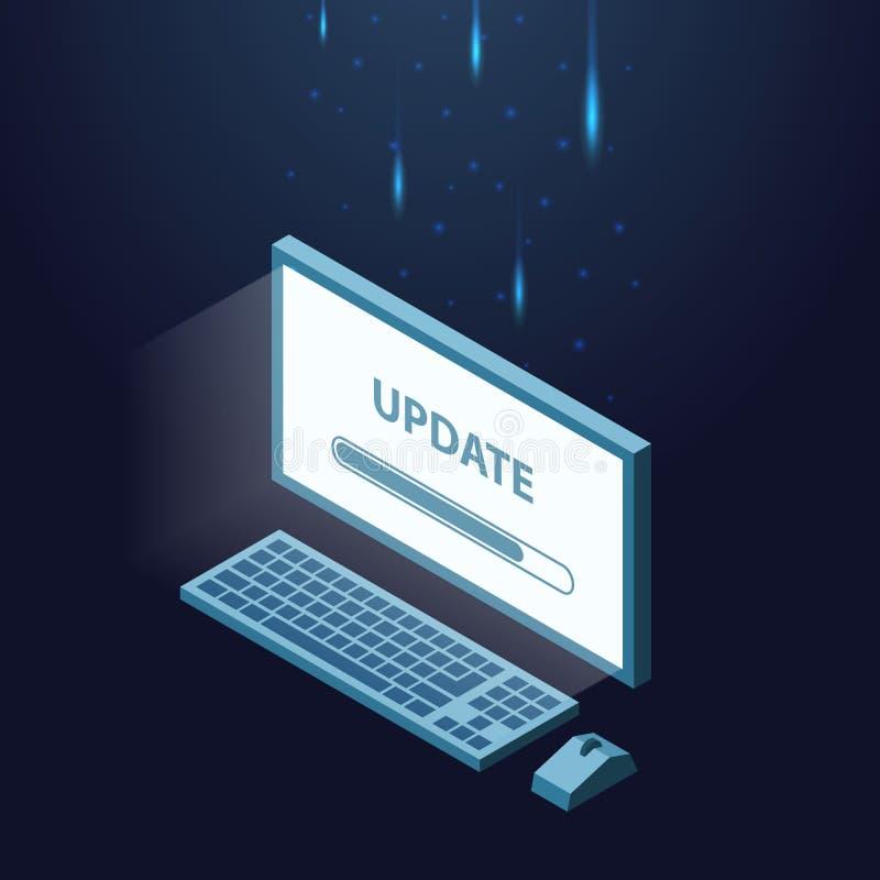 Installazione, software di aggiornamento sul computer Illustrazione isometrica royalty illustrazione gratis
