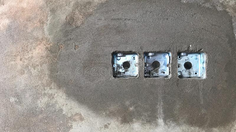 Installed the mk box in the concrete wall for the lighting system switch. In the fatory stock images