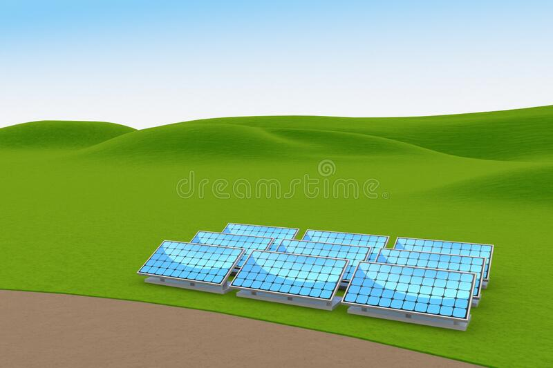 Installed solar panels. Generate electricity by receiving sunlight. 3D illustration vector illustration