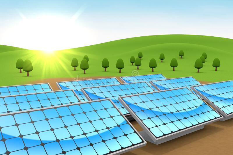 Installed solar panels. Nature and blue sky. 3D illustration vector illustration