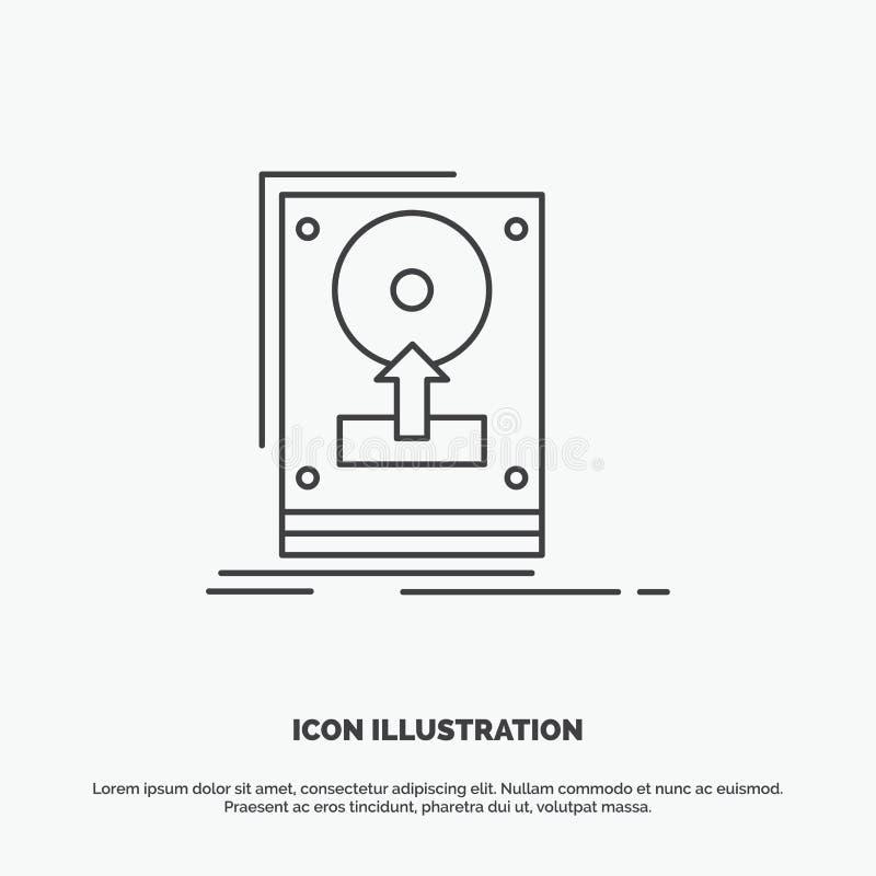 installeer, drijf, hdd, sparen, upload Pictogram Lijn vector grijs symbool voor UI en UX, website of mobiele toepassing royalty-vrije illustratie