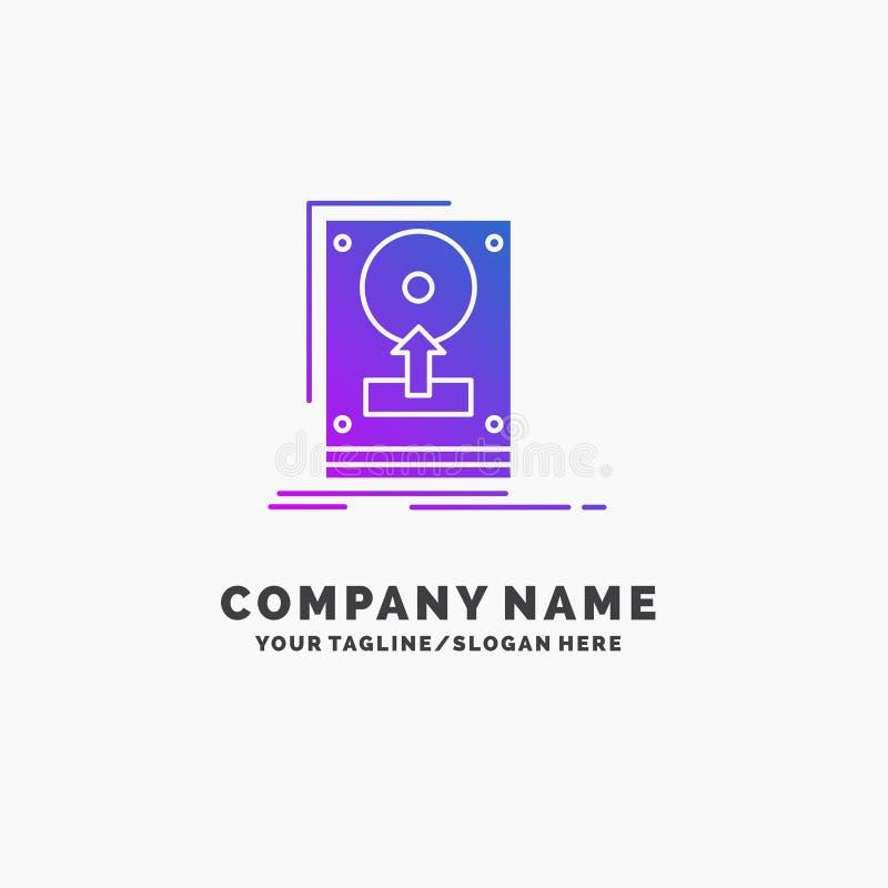 installeer, drijf, hdd, sparen, upload Purpere Zaken Logo Template Plaats voor Tagline stock illustratie