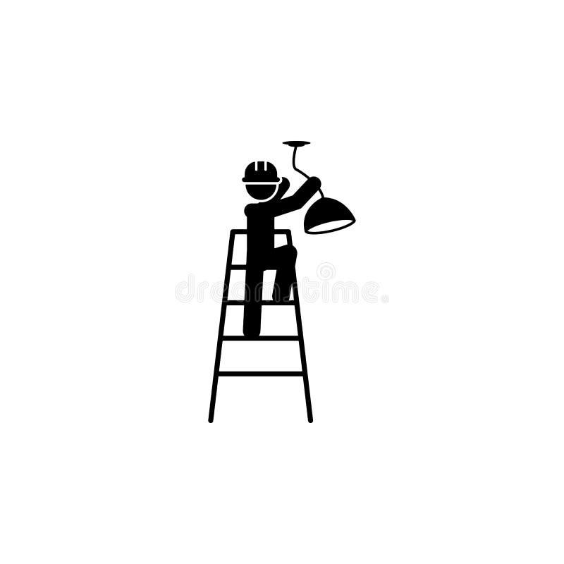 installeer, het pictogram van de lamparbeider Element van bouwvakker voor mobiel concept en Web apps Gedetailleerd installeer, ka royalty-vrije illustratie