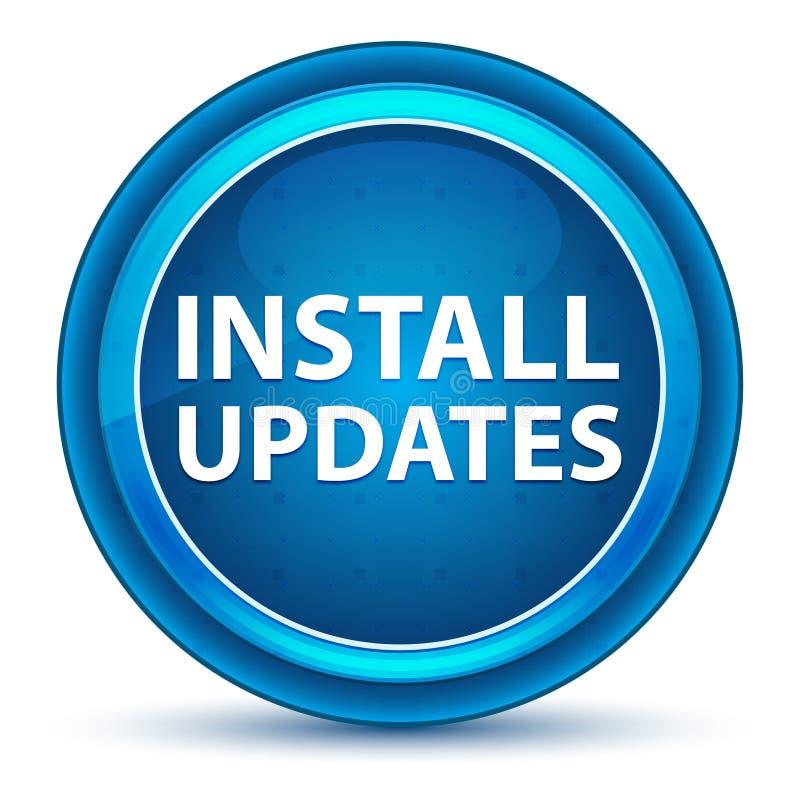 Installera den blåa runda knappen för uppdateringögongloben vektor illustrationer