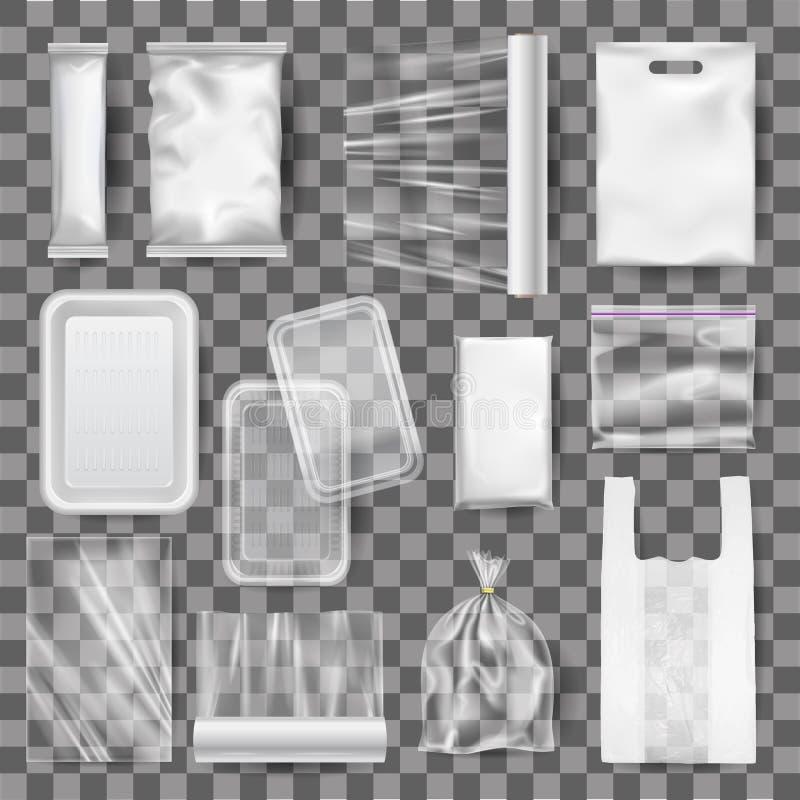 Installi di derisione realistica dei contenitori di alimento di plastica, imballando illustrazione vettoriale