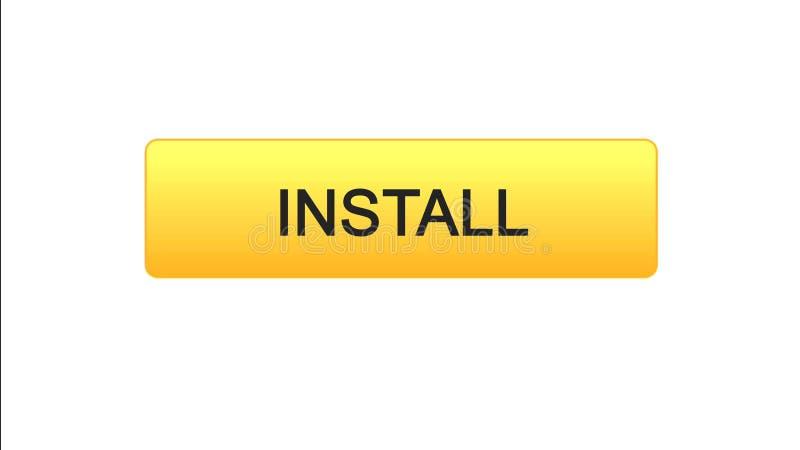 Installi il colore arancio del bottone dell'interfaccia di web, il caricamento di programmi oggetto dell'applicazione, progettazi illustrazione vettoriale