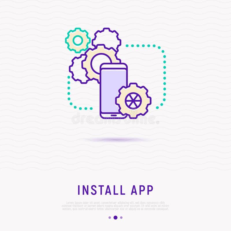 Installieren Sie APP auf dünne Linie Ikone des Smartphone stock abbildung