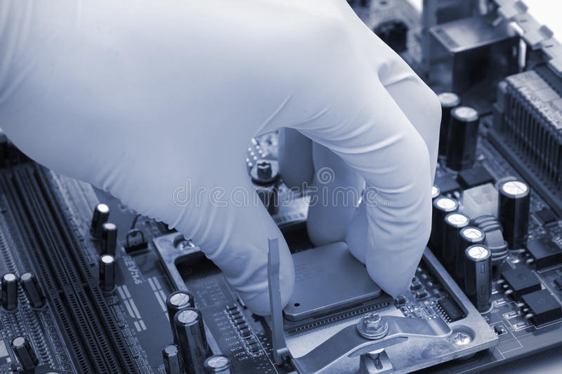 Installing computer CPU royalty free stock photo